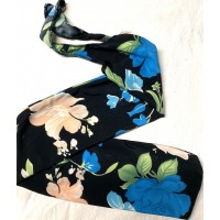 "Tailsock ""Turquoise Blue Flowers on Black"""